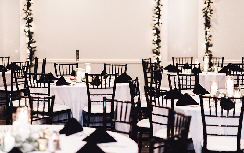 Tables in banquet hall at Oaks Manor