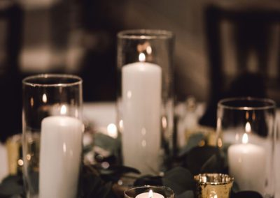 Table decor in banquet hall at Oaks Manor
