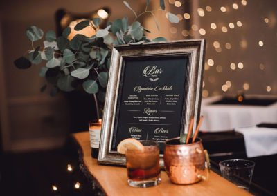 Bar menu at Oaks Manor