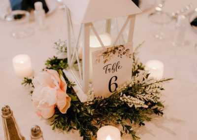 Table decor in event space at Oaks Manor