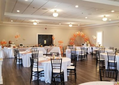 Banquet hall set for event Oaks Manor