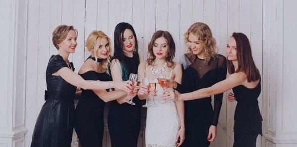 Bridal party in black