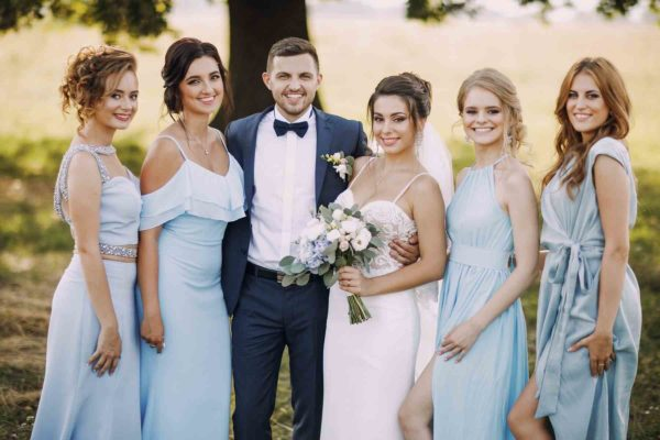 Bridal party in shades of blue
